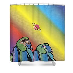 Shower Curtain featuring the mixed media Quirky Birds by Douglas Fromm