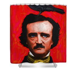 Quoth The Raven Nevermore - Edgar Allan Poe - Painterly - Red - Standard Size Shower Curtain