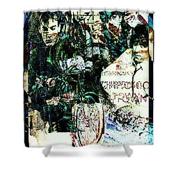 R E M / Exit Chronic Town Shower Curtain by Elizabeth McTaggart