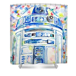 R2-d2 Watercolor Portrait.1 Shower Curtain by Fabrizio Cassetta