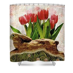 Rabbit And Pink Tulips Shower Curtain