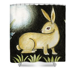 Rabbit And The Butterfly . . . From The Tapestry Series Shower Curtain by Terry Webb Harshman