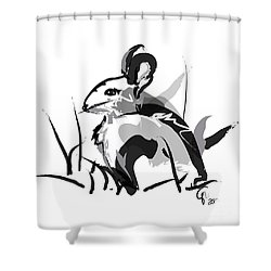 Rabbit Bunny Black White Grey Shower Curtain