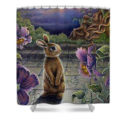 Shower Curtain featuring the painting Rabbit Dreams by Retta Stephenson