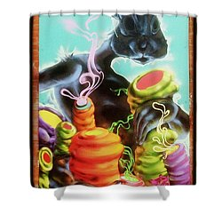 Rabbit With A Habit Shower Curtain