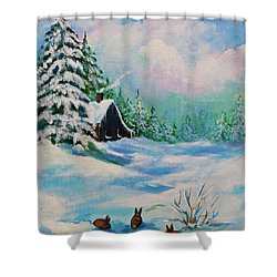 Shower Curtain featuring the painting Rabbits Waiting For Spring by Bob and Nadine Johnston