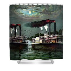 Race Of The Steamers Robert E Lee And Natchez Shower Curtain by War Is Hell Store