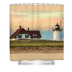 Race Point Light At Sunset Shower Curtain