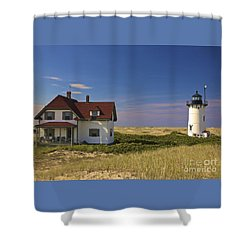 Race Point Lighthouse In Summer Shower Curtain
