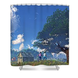 Race To The Swing Shower Curtain by Ken Morris