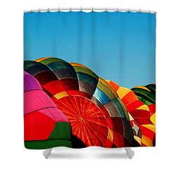 Racing Balloons Shower Curtain by Bill Gallagher