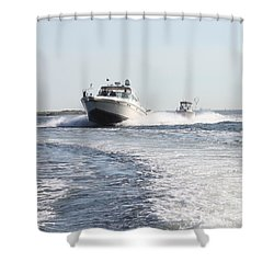 Racing To The Docks Shower Curtain