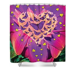 Radiant Butterfly Heart Shower Curtain by Alixandra Mullins