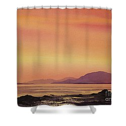 Radiant Island Sunset Shower Curtain by James Williamson
