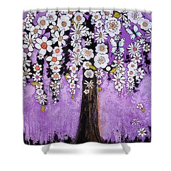Radiant Orchid Flower Tree Shower Curtain by Blenda Studio