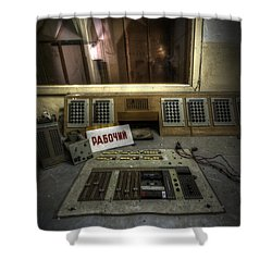 Radio Soviet One Shower Curtain by Nathan Wright