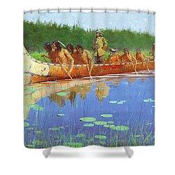 Radisson And Groseilliers Shower Curtain by Fredrick Remington
