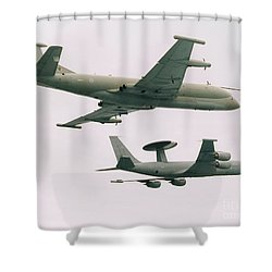 Shower Curtain featuring the photograph Raf Nimrod And Awac Aircraft by Paul Fearn