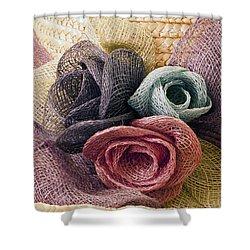 Raffia Roses Macro Shower Curtain