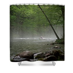 Rafting Misty River Shower Curtain
