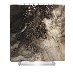 Raging, Wotan Rides To The Rock! Like Shower Curtain by Arthur Rackham