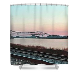 Shower Curtain featuring the photograph Rail Along Mississippi River by Charlotte Schafer