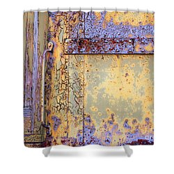 Rail Rust - Abstract - Blues On The Rails Shower Curtain