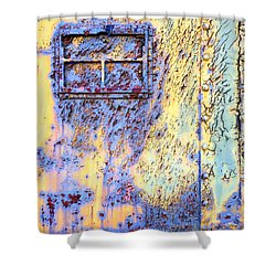 Rail Rust - Abstract - Crackled Blue Window Shower Curtain