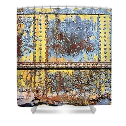 Rail Rust - Abstract - Yellow In 3 Shower Curtain