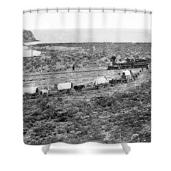 Railroad Meets Wagon Train Shower Curtain by Underwood Archives