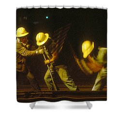 Shower Curtain featuring the photograph Railroad Workers by Mark Greenberg