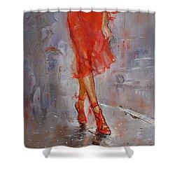Rain In Manhattan Shower Curtain by Ylli Haruni