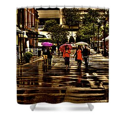 Rain In Market Square - Knoxville Tennessee Shower Curtain by David Patterson