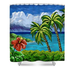 Shower Curtain featuring the painting Rain In The Islands by Tim Gilliland