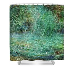 Shower Curtain featuring the painting Rain On The Pond by Mary Wolf