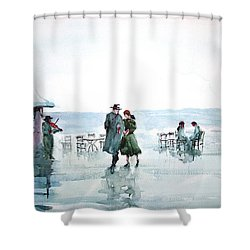 Shower Curtain featuring the painting Rain Serenad - Moments Of Life... by Faruk Koksal