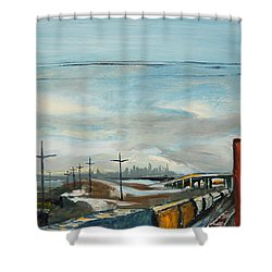 Shower Curtain featuring the painting Rain Train by Asha Carolyn Young