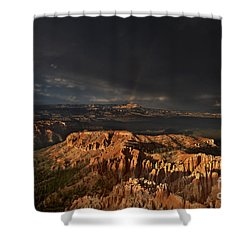 Shower Curtain featuring the photograph Rainbow And Thunderstorm Over The Paunsaugunt Plateau  by Dave Welling