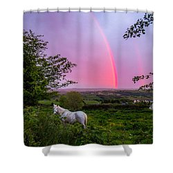Rainbow At Sunset In County Clare Shower Curtain