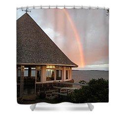 Rainbow At The Bath House Minister Island Nb Shower Curtain
