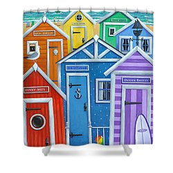 Rainbow Beach Huts Shower Curtain