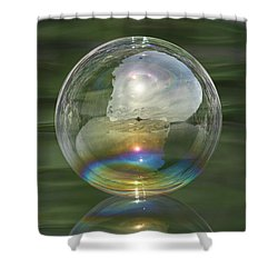Sun Halo Rainbow Bubble Shower Curtain by Cathie Douglas