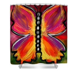 Rainbow Butterfly Shower Curtain by Christine Fournier