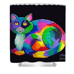 Rainbow Calico Shower Curtain