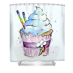 Rainbow Dash Themed Cupcake Shower Curtain