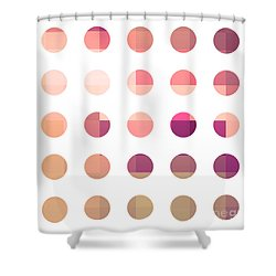 Rainbow Dots Rose Shower Curtain by Pixel Chimp