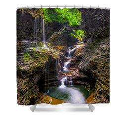 Rainbow Falls Of Watkins Glen Shower Curtain by Mark Papke