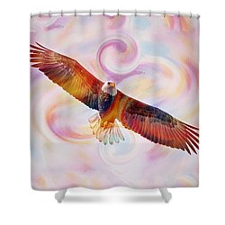 Rainbow Flying Eagle Watercolor Painting Shower Curtain
