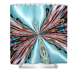 Rainbow Glass Butterfly On Blue Satin Shower Curtain