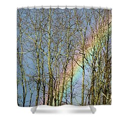 Shower Curtain featuring the photograph Rainbow Hiding Behind The Trees by Kristen Fox